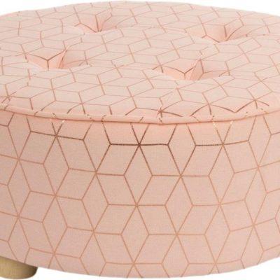 Świetny puff z geometrycznym wzorem w metalicznym odcieniu
