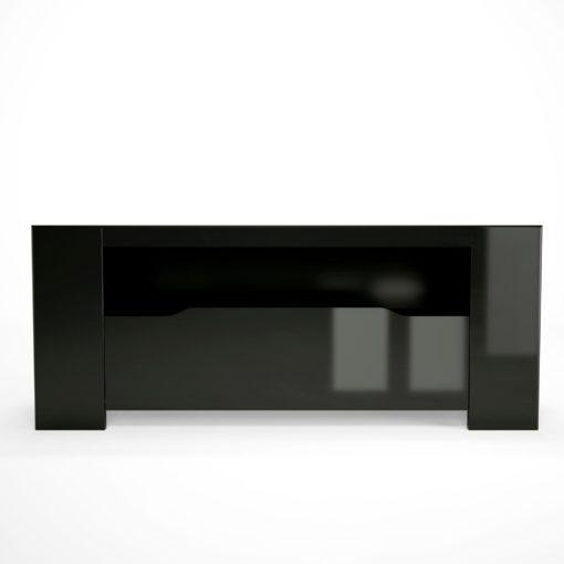 Nowoczesna, czarna szafka pod telewizor, w połysku