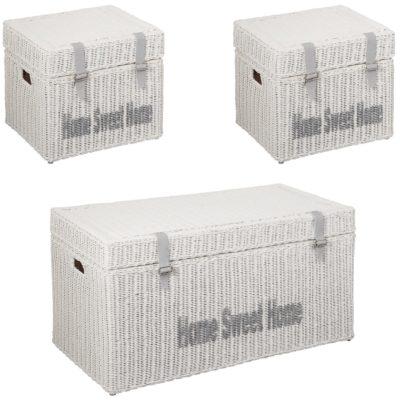 Zestaw trzech stylowych skrzyń do przechowywania