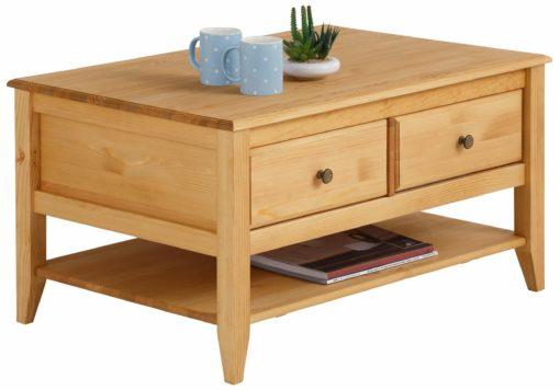 Elegancki, sosnowy stolik kawowy z szufladami