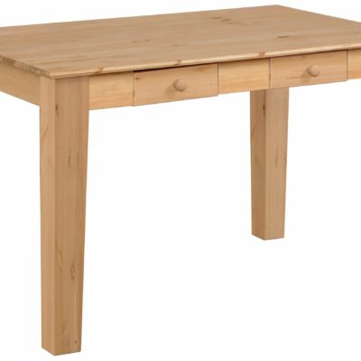 Sosnowy stół z dwiema szufladkami, 120 cm