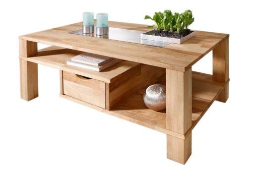 Niezwykły, bukowy stolik z półkami i szufladami
