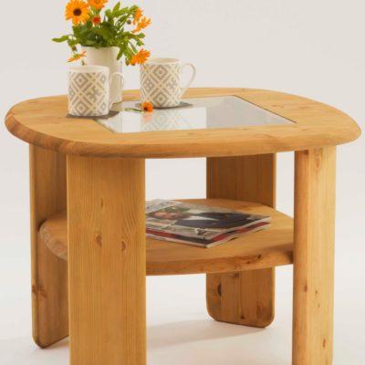 Stolik kawowy: połączenie litego drewna i szkła