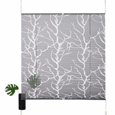 Szara, plisowana roleta z motywem drzewa  100 cm