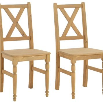 Przepiękne, sosnowe krzesła z toczonymi nogami - 4 sztuki