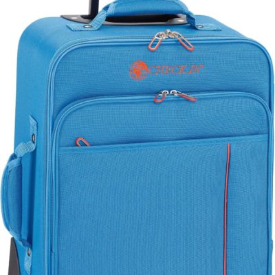 Miękka, niebieska walizka z czterema kółkami
