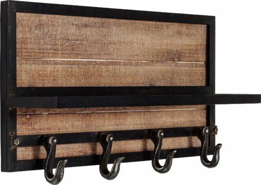 Wieszak na ubrania wykonany z mieszanki drewna i metalu