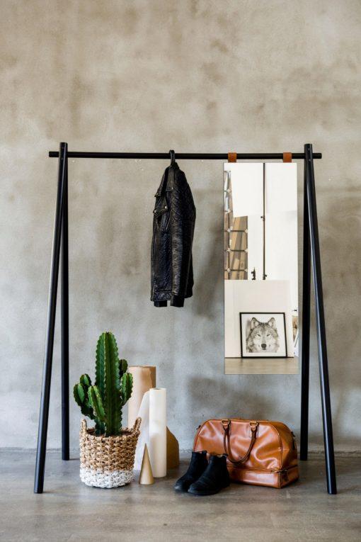Wieszak na ubrania w stylu skandynawskim, z lustrem