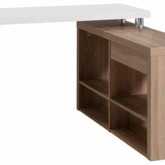 Stylowe biurko narożne z półkami