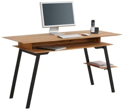 Biurko z dębu i metalu, w nowoczesnym stylu