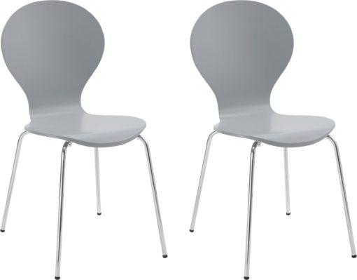 Zestaw 2 krzeseł w minimalistycznym stylu, szare