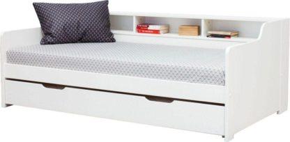 Łóżko białe z półką 90x200 cm