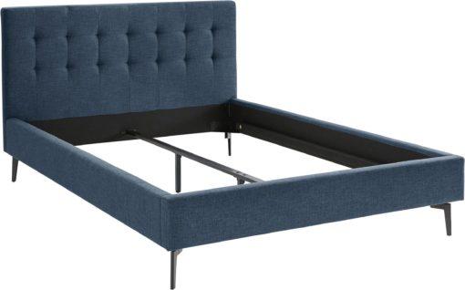 Tapicerowane łóżko z pięknie przeszytym zagłówkiem, 140x200 cm