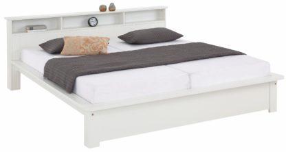 Białe łóżko z funkcjonalną półką180x200 cm