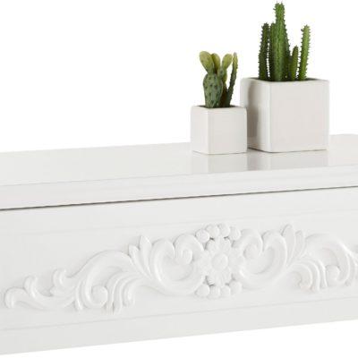 Półka ścienna z szufladą i ozrobnym ornamentem