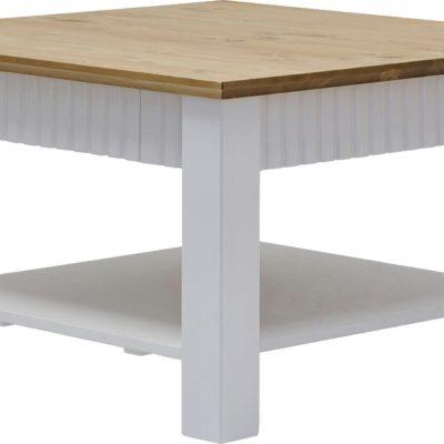 Sosnowy stolik kawowy z eleganckimi akcentami