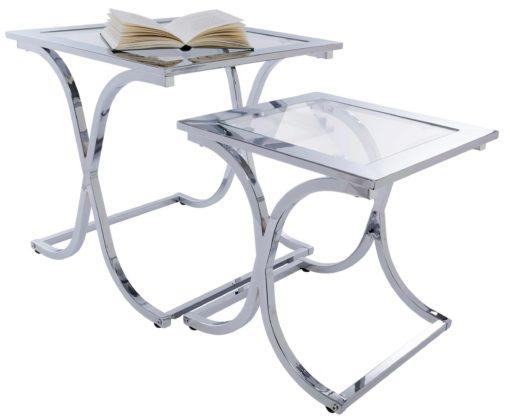 Zestaw stolików: połączenie szkła i chromowanej ramy