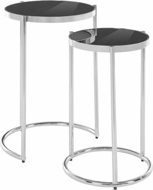 Zestaw nowoczesnych stolików, srebro+czerń