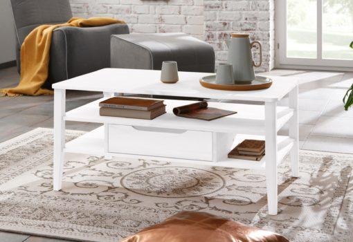 Ciekawy stolik kawowy z półką i szufladami