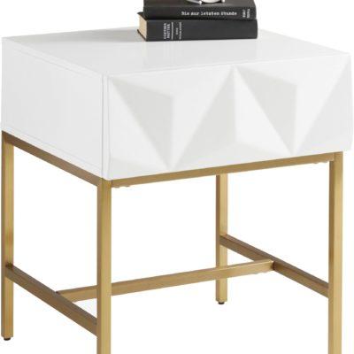Modny stolik z szufladą i geometrycznym forntem