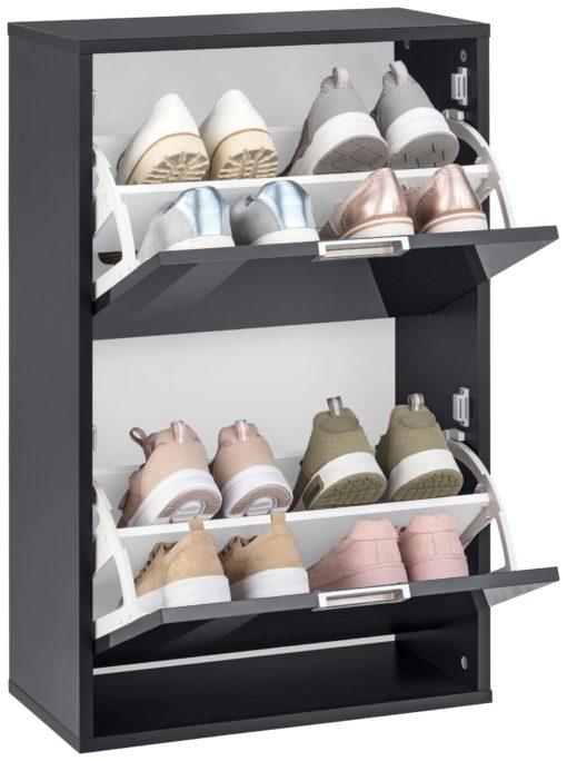 Kompaktowa szafka na buty, czarna w połysku
