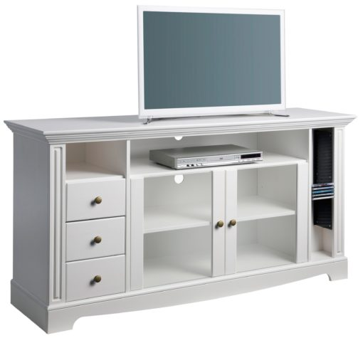 Stylowa i praktyczna szafka RTV z wieloma półkami, biała