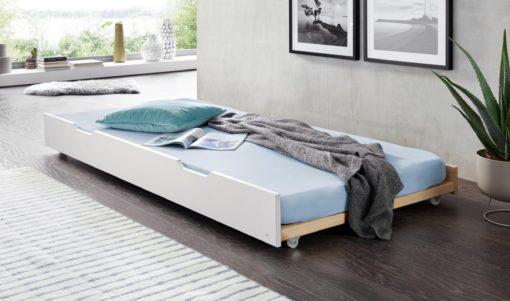 Praktyczna dostawka do łóżka ze stelażem, sosnowa