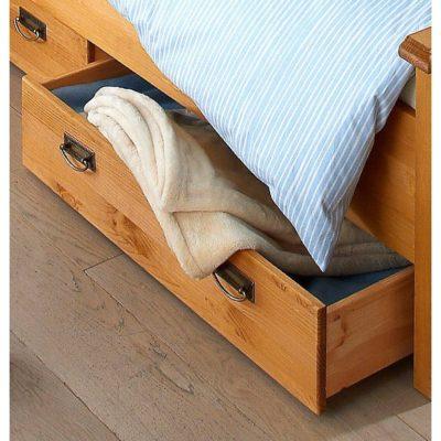 Szuflada pod łóżko sosnowa, na kółkach