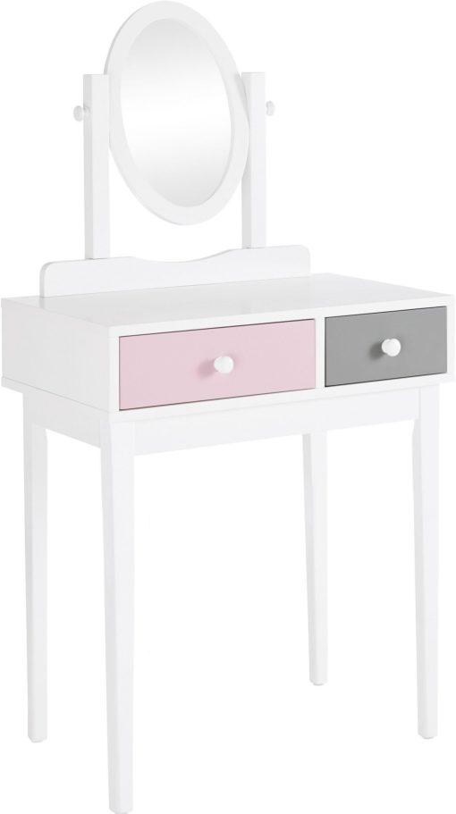 Toaletka z lustrem w pastelowych kolorach