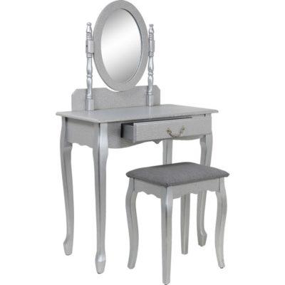 Toaletka w antycznym stylu, szara, bez stołka