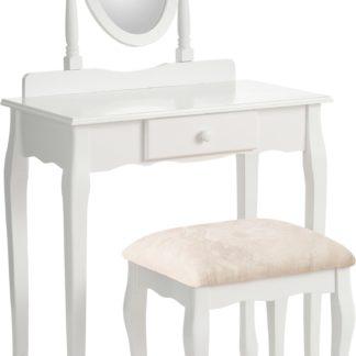 Toaletka ze stołkiem w antycznym stylu, biała