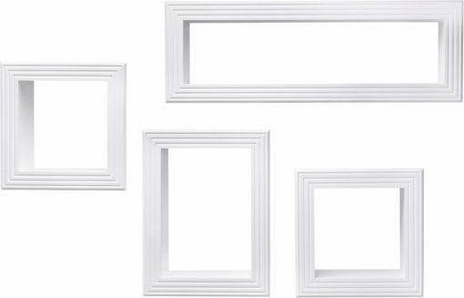 Zestaw czterech półek ściennych, białe, przepiękne