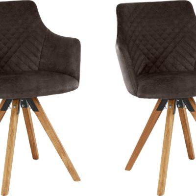 2 przykuwające wzrok obrotowe fotele, nogi dębowe