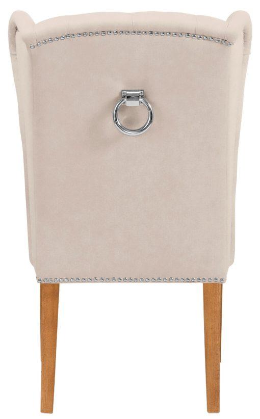 Elegancki, pikowany fotel z drewniana ramą - kremowy, welur