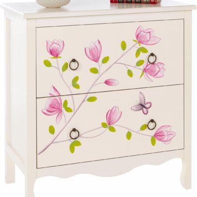 Przepiękna komoda z ręcznie malowanym kwiatowym wzorem