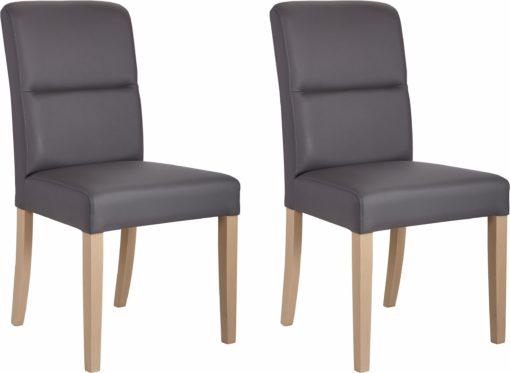 Wygodne krzesła ze sztucznej skóry, nogi bukowe - 2 sztuki
