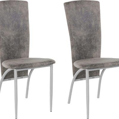 Futurystyczne, szare krzesła z metalową ramą - 2 sztuki