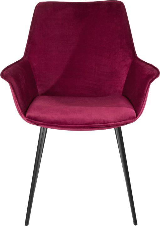 Bordowe krzesła z miękkim poszyciem i metalowymi nogami - 2 sztuki