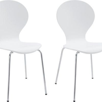 Zestaw 2 białych krzeseł w minimalistycznym, ponadczasowym designie