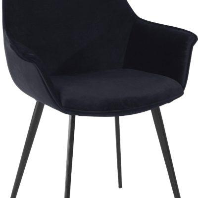 Czarne krzesła z miękkim poszyciem i metalowymi nogami - 2 sztuki