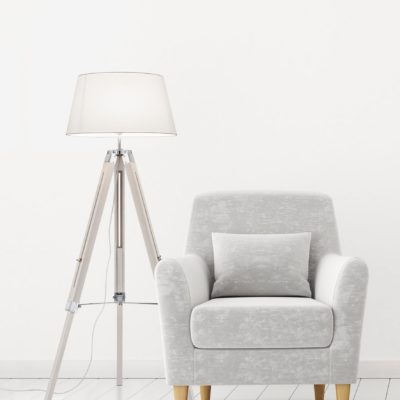 Stojąca lampa podłogowa - najnowszy trend! Biały abażur