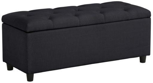 Gustowna ławka obita piękną tkaniną, czarna