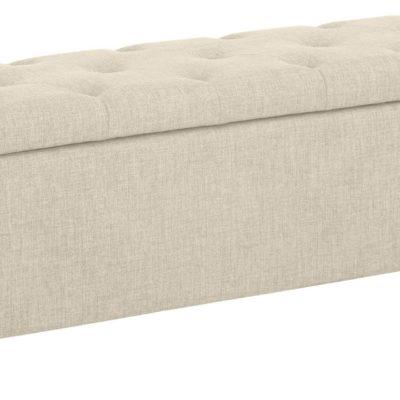 Tapicerowana ławka ze schowkiem i siedziskiem, kremowa