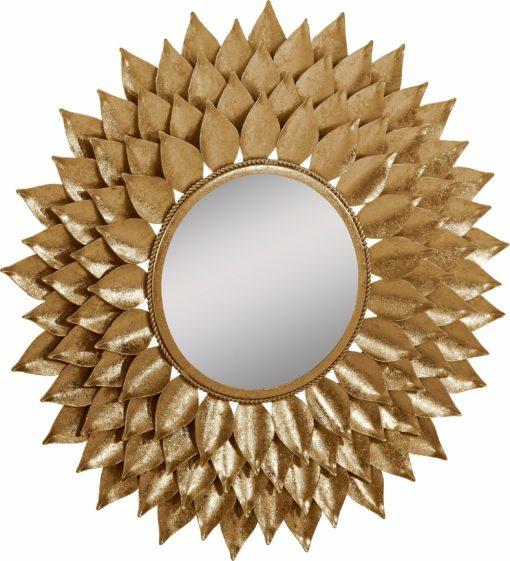Niezwykłe, złote lustro w kształcie kwiatu