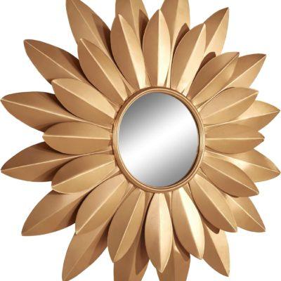 Magiczne, złote lustro w kształcie kwiatu, styl glamour
