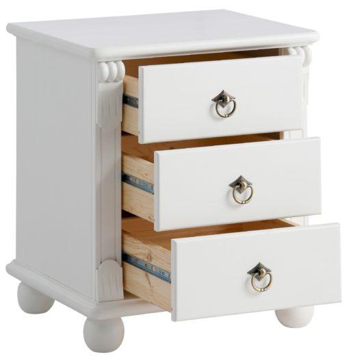 Sosnowa szafka nocna z toczonymi nóżkami, biała