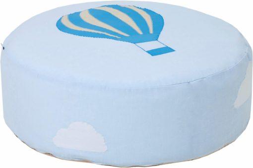 Uroczy niebieski puff z motywem balonu, pokrowiec z bawełny