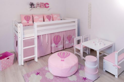 Uroczy różowy puff z motywem balonu, pokrowiec z bawełny