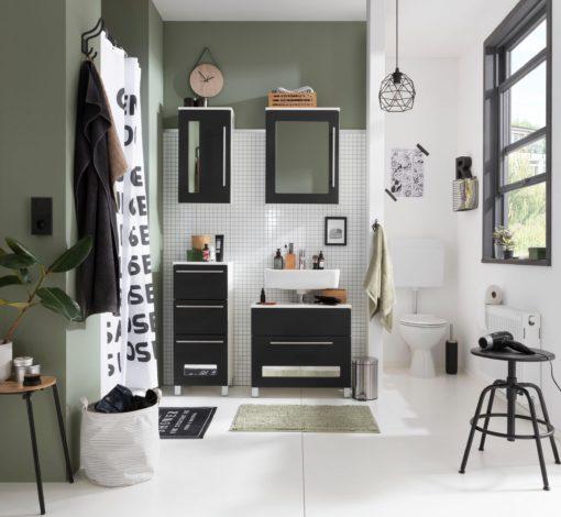 Niski słupek łazienkowy, czarno-biały