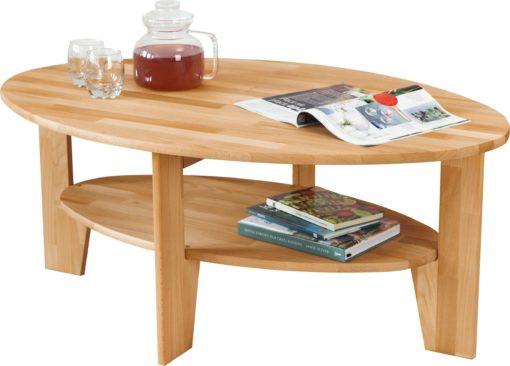 Piękny owalny stolik kawowy z półką, dębowy